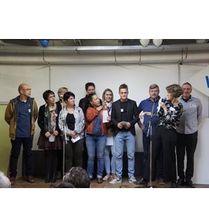 viering 20 jaar vereniging Wok: sfeerbeelden: het team op het podium