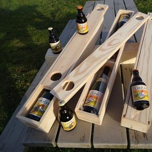 voorstelling van houten geschenkverpakking voor bierflessen