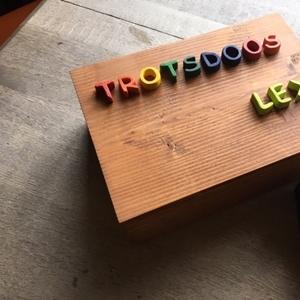 Producten van het houtatelier: houten trotsdoos met houten letters